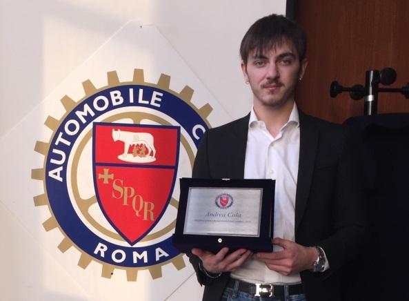 Nuovo impegno sportivo per il romano Andrea  Cola - image 2020-Andrea-Cola-premiato-AC-Roma on https://motori.net