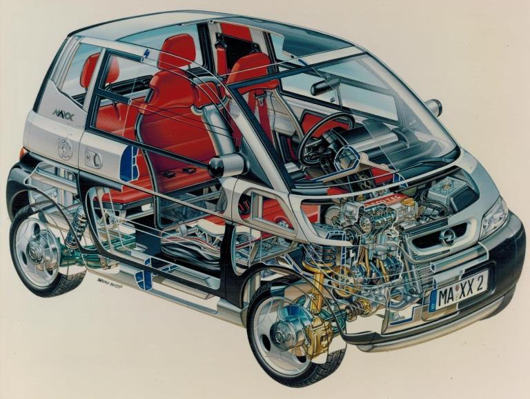 110 chilometri d'autonomia in 10 minuti di ricarica - image 1995-Opel-MAXX on https://motori.net