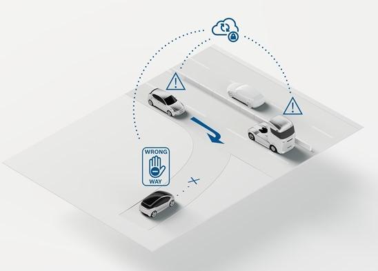Swarm intelligence per la guida autonoma - image wrong-way-driver-warning on https://motori.net